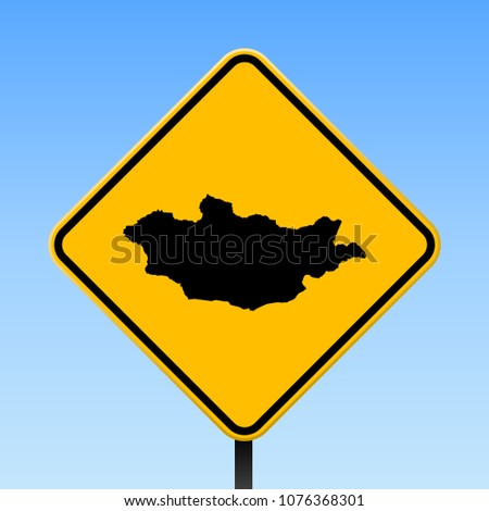 Mongolia map road sign. Square poster with country outline on yellow rhomb signboard. Vector illustration.