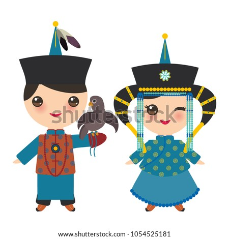 mongolian boy and girl in blue