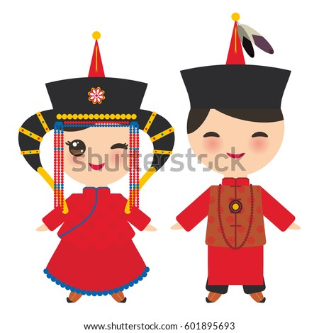 mongolian boy and girl in red