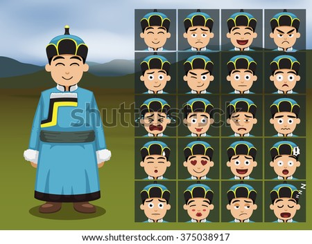 mongolian boy cartoon emotion