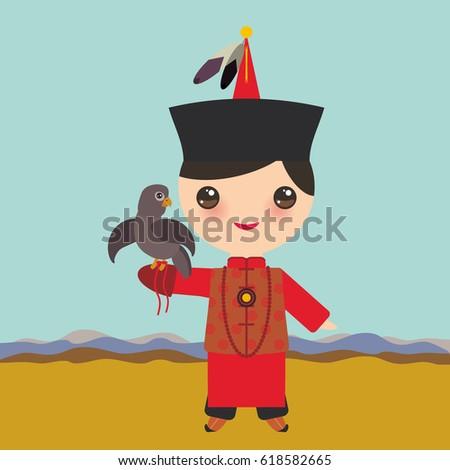 mongolian boy in red national