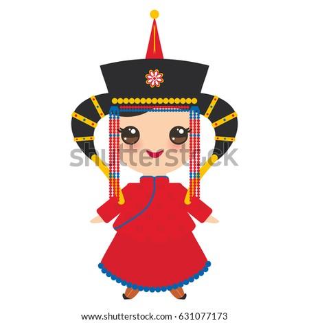 mongolian girl in red national