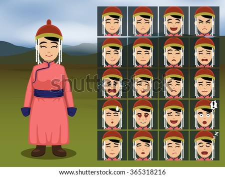 mongolian woman cartoon emotion