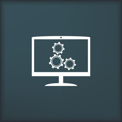 Monitor and gears icon. Flat design style.