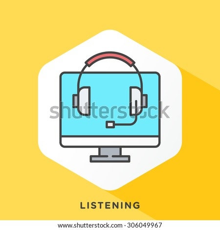 monitor and headphone icon with