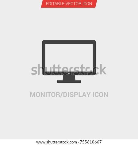 Monitor/Display icon dark grey new trendy flat style vector symbol
