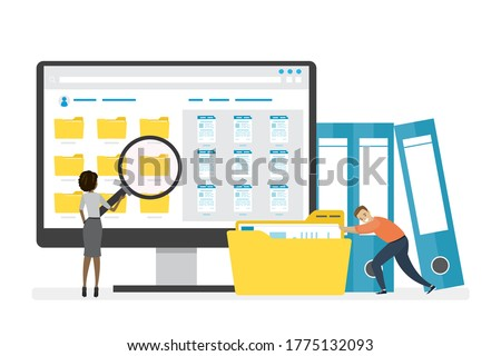 Monitor display with yellow folders, documents and media content. Office clerks or employees searching and indexing files. File manager, data storage. Teamwork. Files search. Vector illustration