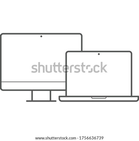 Monitor Laptop Icon - Electronics Icons vector .Monitor Laptop vector illustration symbol for website and graphic design.  modern monitor and laptop icon display. set of monitor and laptop.