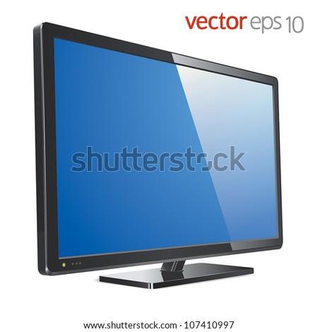 Monitor lcd, tv, realistic vector illustration