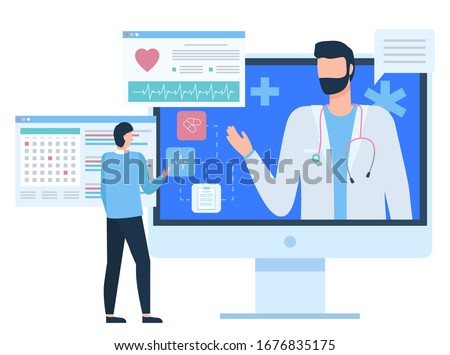 Monitor of computer with doctor, chat with medical assistant, diagnosis or cardiogram report of patient, healthcare and online support, pc vector