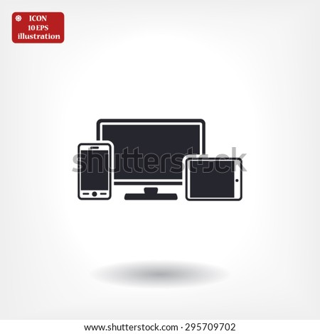 Monitor, phone, tablet  icon. One of set web icons