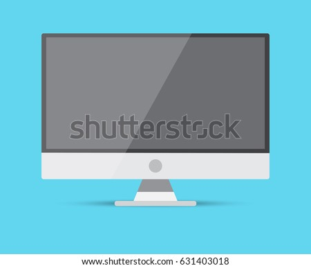 Monitor screen PC icon flat style with on a blue background, vector illustration