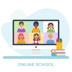 Monitor screen with video conference with school children. Online education concept. Flat vector illustration