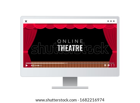 Monitor, TV, with an online broadcast of a theater production. Quarantine, coronavirus epidemic, viewing online video recordings of a theatrical performance Stock photo ©