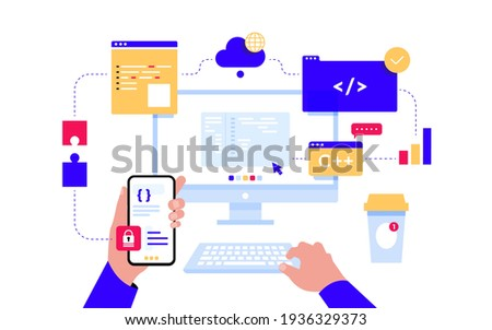 Monitor with program code on the screen, infographic elements, bug fixing, virtual screens. Web development, programmer, coding. Web banner or landing page template. Vector illustration on white