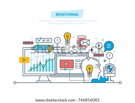 Monitoring, digital marketing, media planning, online business, analysis, promo, promotion in social network. Financial monitoring, tracking, growth video monitoring Illustration thin line design