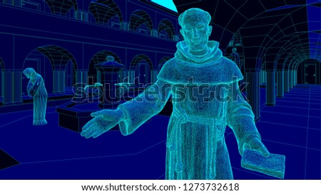 monk in the cloister of a monastery welcoming for spiritual retreat