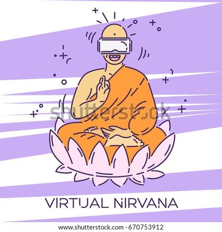 monk in virtual reality glasses