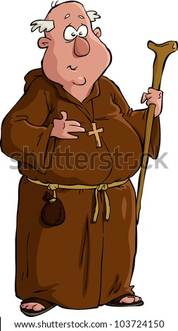 Monk on a white background vector illustration