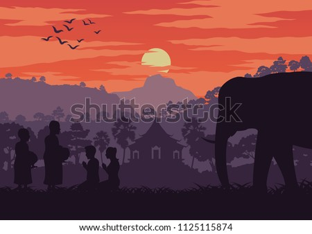 monk receive food in the morning while pass an elephant symbol of Thailand and Laos,silhouette design and vintage color,vector illustration