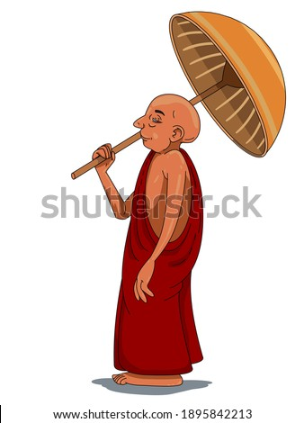 monk standing with wooden