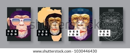 Monkey abstract covers set. Futuristic african animal design. Card monkey template. Future Poster template. Concept geometric mammal animal. Polygonal halftone. Monkey face silhouette illustration.