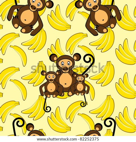 Monkey and banana seamless background