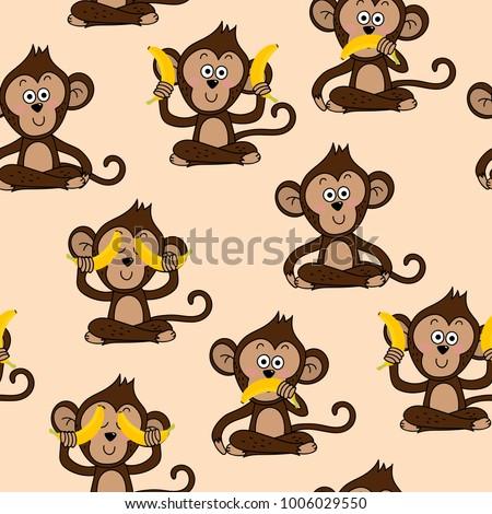 monkey and banana seamless pattern and vector.