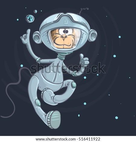 monkey astronaut on a stars