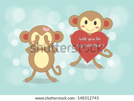 monkey boy holding red heart