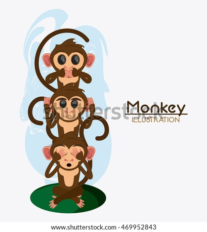 monkey cartoon animal ape icon