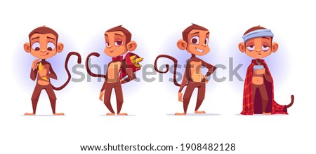 Monkey cartoon characters, cute apes mascot peel and presenting banana, got flu wrapped in plaid with hot drink in cup, stand with arms akimbo isolated on white background, vector illustration, set