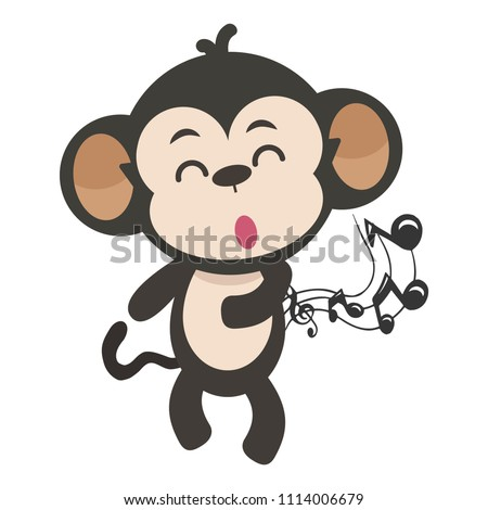 Monkey cartoon illustration sing and dance.