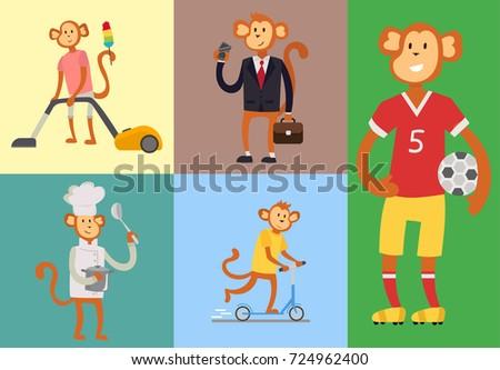 Monkey cartoon suit person costume character chimpanzee happiness man flat vector illustration