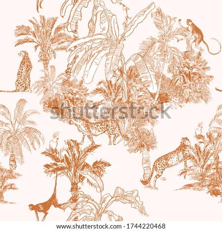 Monkey, Cheetah Wild Animals, Tropical Forest Engraving Print, Toile Monochrome Linear Drawing Jungle Wildlife Ochre on White Background, Exotic Oriental Wallpaper Design Doodle Jungle Wildlife, Palms