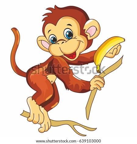 Monkey coloring, monkey on white background, coloring of children, illustration for children, fruit, tree, banana