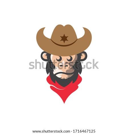 monkey cowboy concept vector