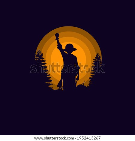 Monkey D Luffy Silhouette Vector Illustration Logo Designs. Landscape wallpaper, Illustration vector style, One Piece. Perfect for T-shirt, Hoodie, etc