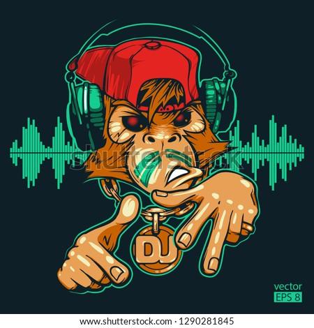 monkey dj monkey rapper hand