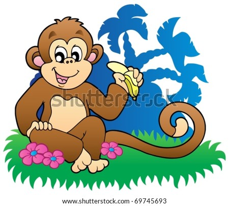 pics of monkeys eating bananas. stock vector : Monkey eating