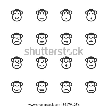 Monkey emotions simple icons for web