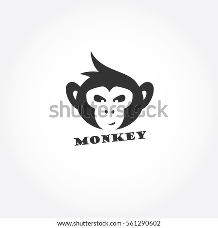 Monkey face logo, chimpanzee vector design, monkey icon vector.