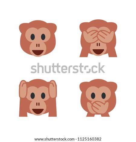 Monkey Face, See-No-Evil Monkey, Hear-No-Evil Monkey, Speak-No-Evil Monkey. Vector illustration smiley emojis, emoticons symbols, icons, faces set, collection.