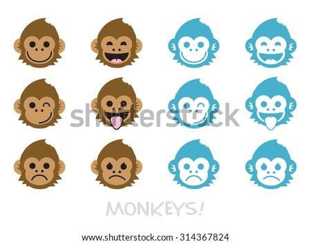 Monkey faces, emoticons