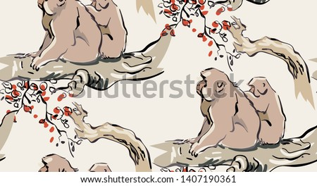 monkey forest vector japanese