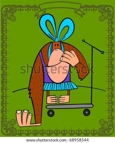 Monkey girl, in the circus, mounted in a scooter - stock vector