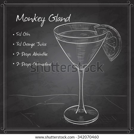 Monkey Gland alcoholic cocktail, consisting of Jean, Orange juice, absinthe, grenadine on black board