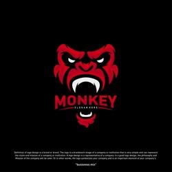 Monkey Gorilla Esport gaming mascot logo template Vector. Modern Head Monkey Logo Vector