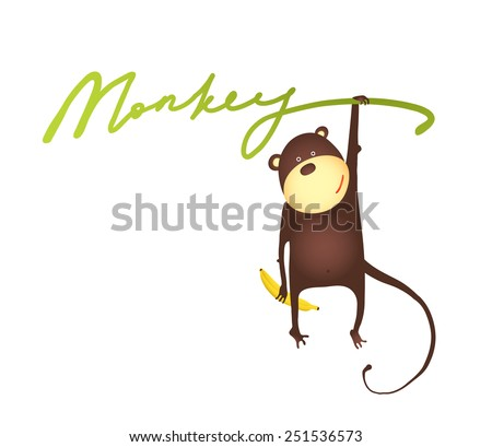 stock-vector-monkey-hanging-on-vine-with-banana-lettering-cartoon-playing-amusing-monkey-hanging-on-sign