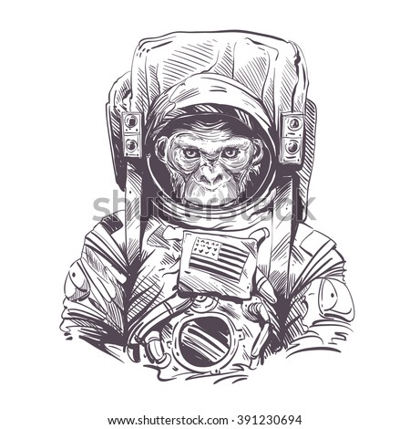 monkey in astronaut suit hand